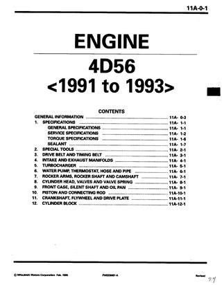 Mitsubishi Delica l300 4D56 Engine Manual by Felix - Issuu