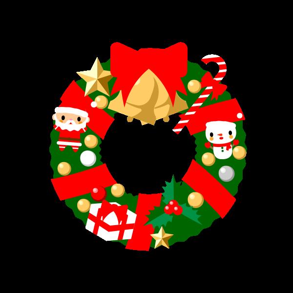 縁無しでかわいいクリスマスリースの無料イラスト商用フリー オイデ43
