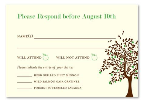 Unique RSVP Cards ~ Apple Tree by ForeverFiances Weddings