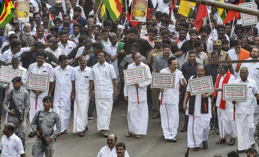 DMK president MK Stalin along with leaders of allies, including senior Congress leader P Chidambaram, MDMK chief Vaiko and state unit leaders of the Left parties take part in a protest rally against the Citizenship Amendment Act (CAA), in Chennai. PTI