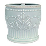 Lenox 866360 French Perle Groove Ice Blue Toothbrush Holder 4.5