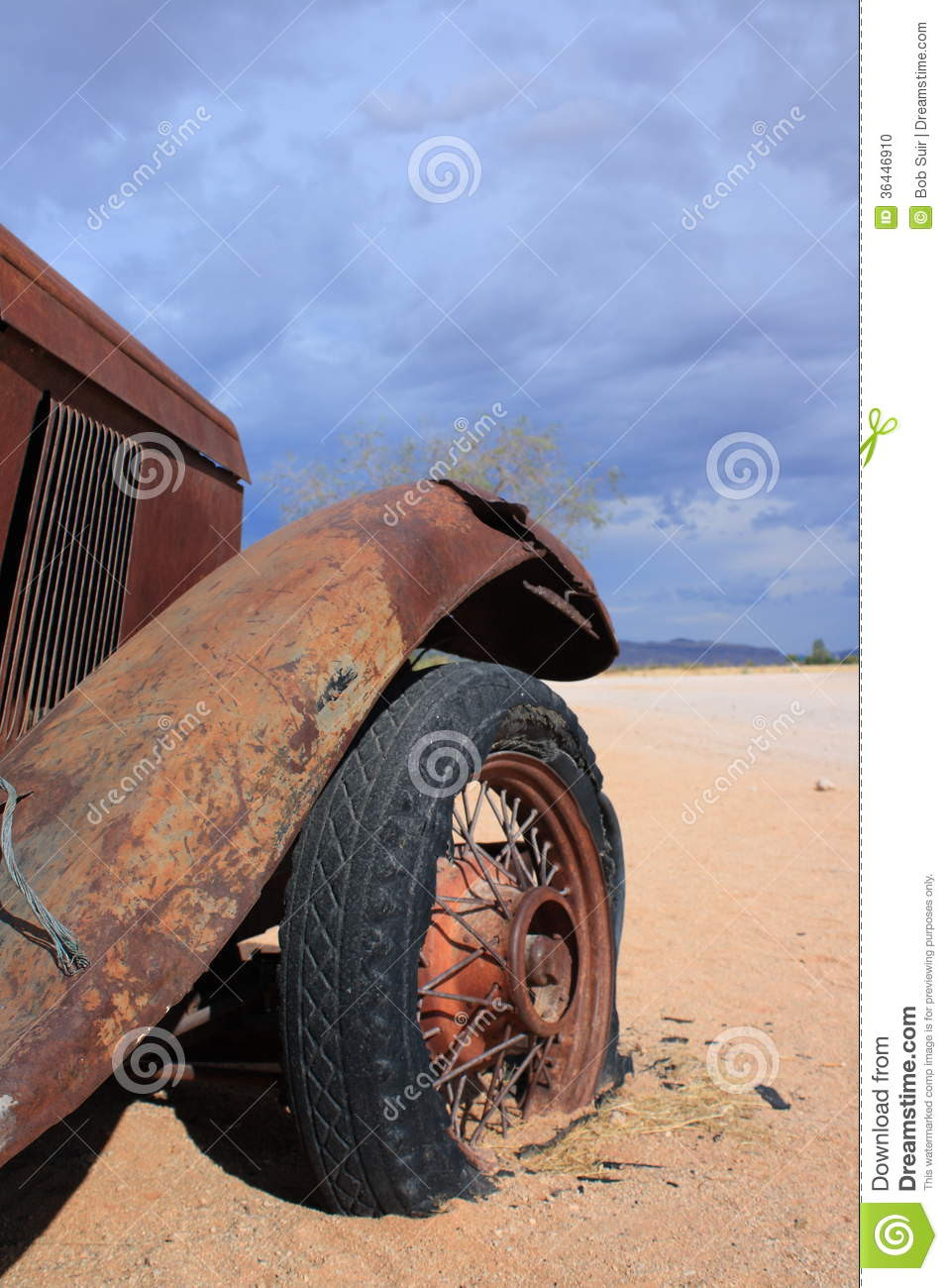 Abandoned Old Car With Flat Tire Stock Photo Image 36446910