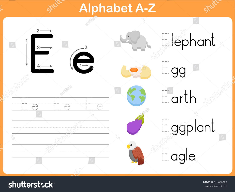 Alphabet Tracing Worksheet Writing Az Stock Vector 214050499 ...
