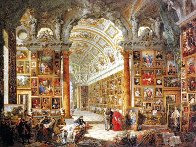 File:Pannini, Giovanni Paolo - Interior of a Picture Gallery with the Collection of Cardinal Silvio Valenti Gonzaga - 1740.jpg