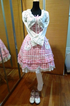 Bodyline Pink Gingham Sweet Lolita Outfit by shira.C