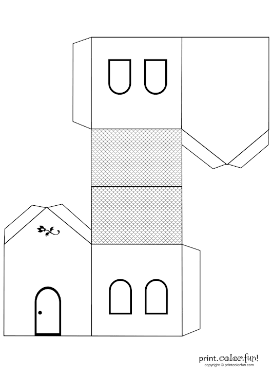 House cutout craft to color coloring page - Print. Color. Fun!