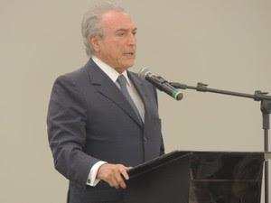 Michel Temer durante palestra em evento sobre Direito Constitucional em Natal (Foto: Felipe Gibson/G1)