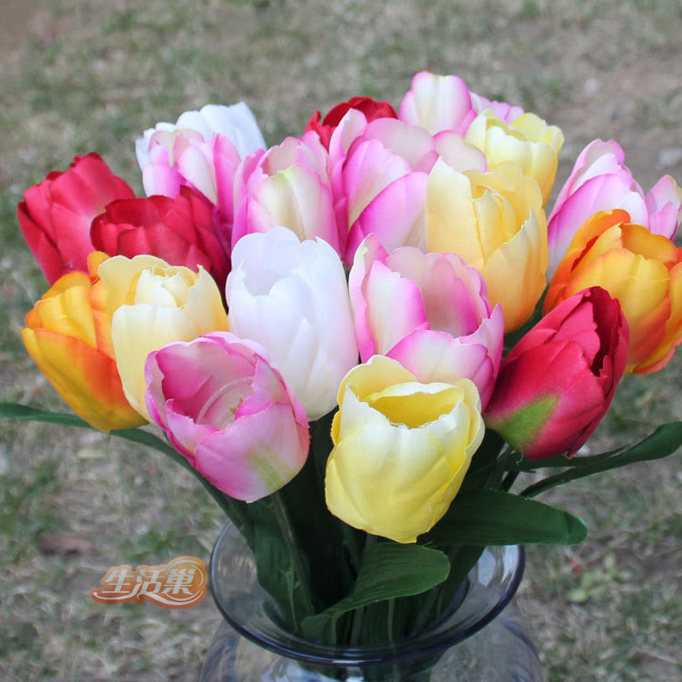 50pcs\/lot 6 color high quality wholesale artificial tulips fake silk tulip Real touch flower