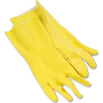 Boardwalk Flock-Lined Latex Cleaning Gloves Large Yellow 12 Pairs