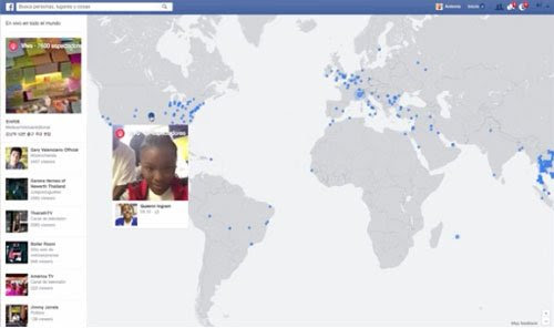 Mapa interactivo de videos en vivo de Facebook
