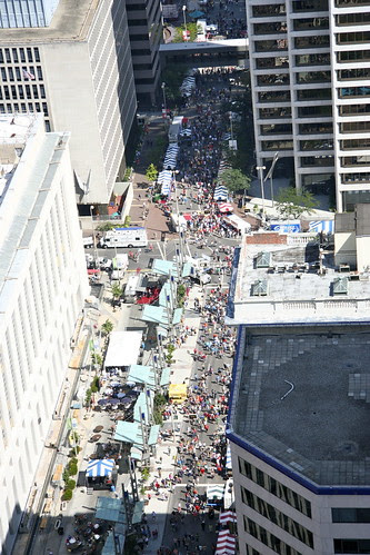 Aerial of Downtown Cincinnati - Oktoberfest