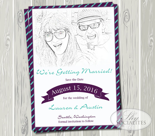 Custom Photo to Sketch Save the Date or Wedding Invitation