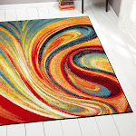 Home Dynamix Splash Collection 211 Multi-Colored Swirls Area Rug