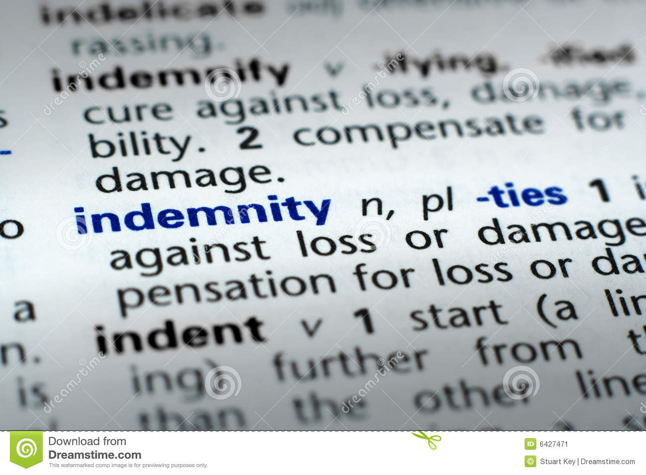 Definition Of Indemnity Stock Image - Image: 6427471