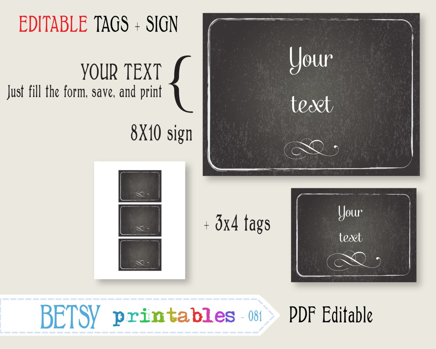 Editable chalkboard sign and tags printable by BetsyPrintables