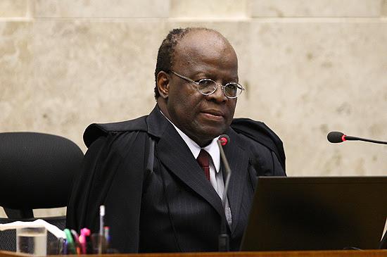 O ministro Joaquim Barbosa, presidente do Supremo e relator do processo do mensalão