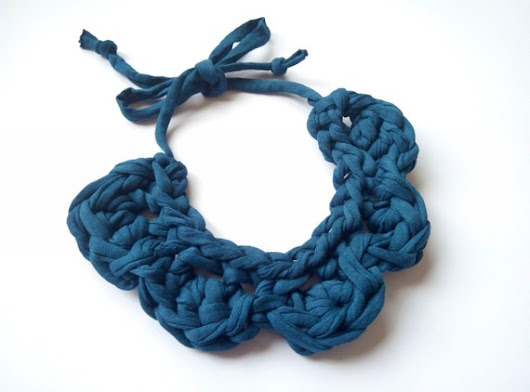 Womens gift handmade necklace Hand knit fabric necklace