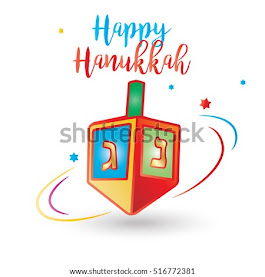 Happy Hanukkah inscription. Jewish Holiday card with Spinning top. Vector illustration.