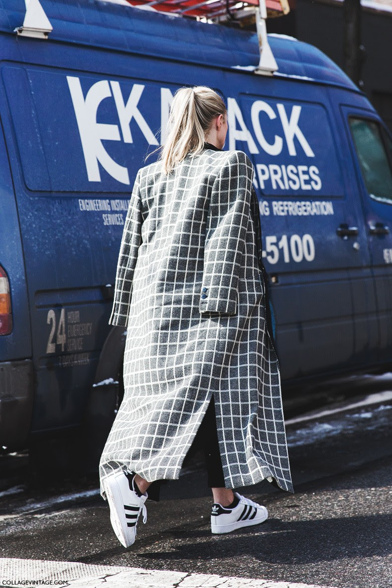 New_York_Fashion_Week-Fall_Winter_2015-Street_Style-NYFW-Checked_Coat-Adidas_Superstar-Sneakers-