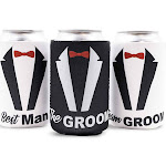 """Blue Panda 12-Pack""""Team Groom"""" Bachelor Party Beer Can Covers Cooler Sleeve"""