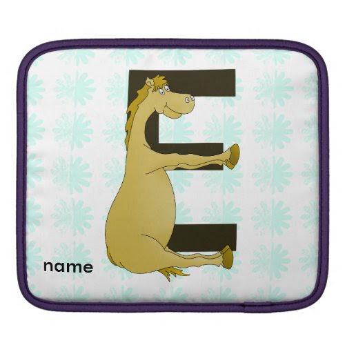 Cute Cartoon Pony Monogram E Sleeves For iPads