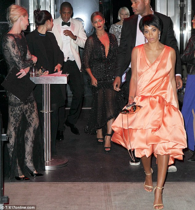 The aftermath: Jay Z looked shellshocked as the trio left the elevator after the fight at the Standard Hotel in New York last Monday