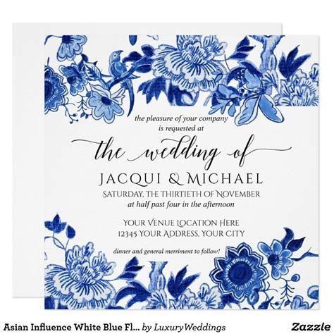 Asian Influence White Blue Floral Wedding Artwork