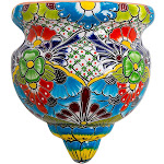 Handcrafted Talavera-Style Terra Cotta Flat-Backed Wall Planter
