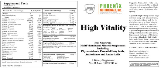 High Vitality Liquid Multivitamin 32 fl.oz – Phoenix Nutritionals America's #1 Full Spectrum Nutritional Product – GMP Certified Full Spectrum Highly Absorbable Supplements. The Best Vitamins for a Woman and a Man