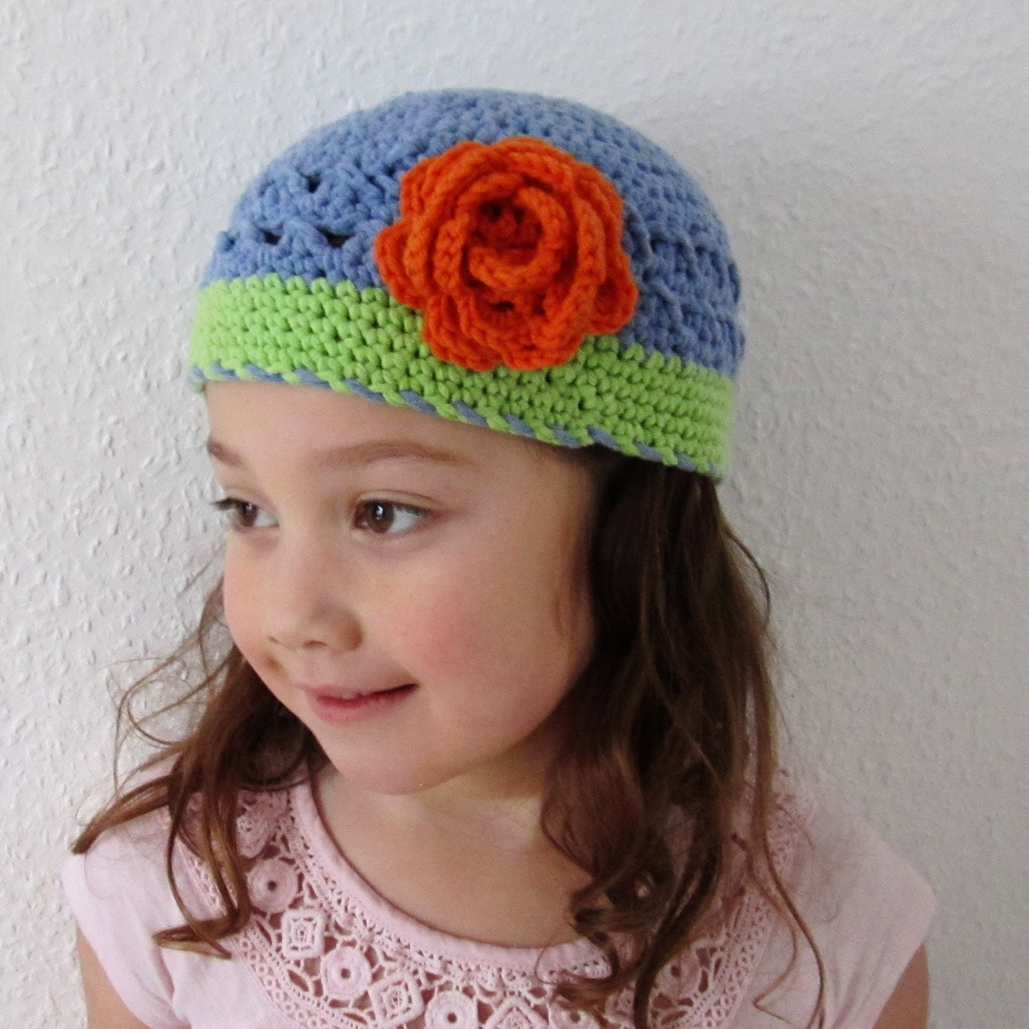Cotton crocheted pillbox hat beanie with flower