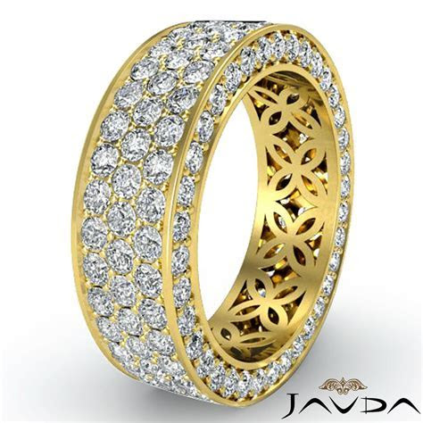 3 Row Womens Anniversary Band 14k Yellow Gold Pave