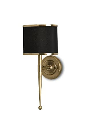 Currey and Company 5021 Primo 1-Light Wall Sconce, Antique Brass ...