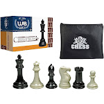WE Games Super Tournament Staunton Chessmen - Triple Weighted Black & Cream Plastic Set with 4 in. King