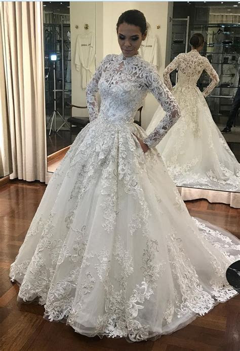 High Neck Wedding Dress, Long Sleeve Wedding Dress, Muslim