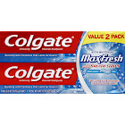 Colgate MaxFresh Fluoride Toothpaste, Cool Mint - 2 pack, 6 oz tubes