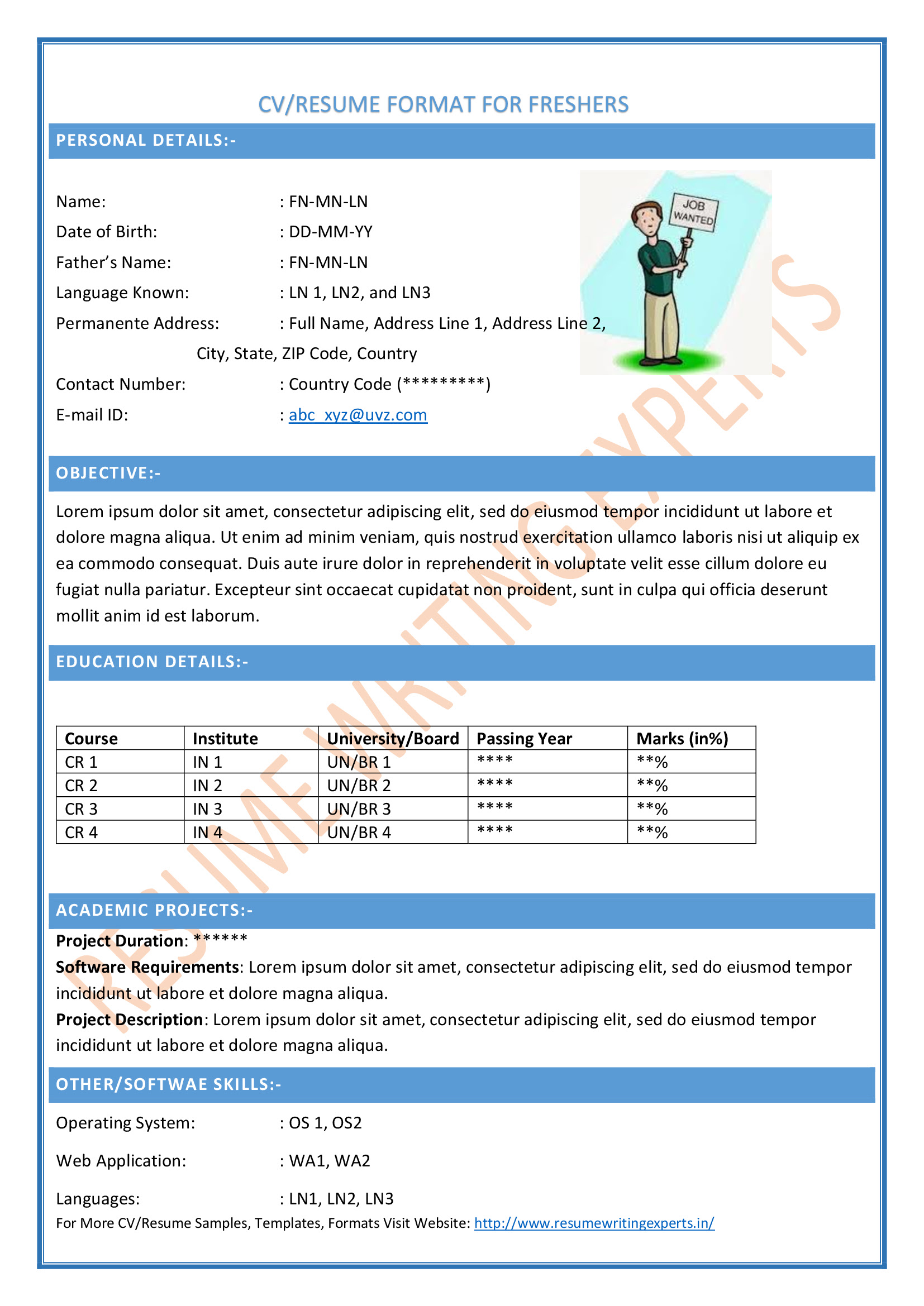 Best Resume Format For Chartered Accountant
