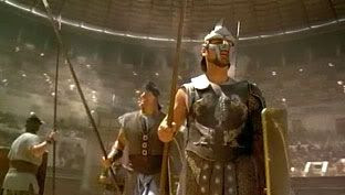 Maximus Decimus Meridius (Russell Crowe) and other slaves prepare to re-enact the Battle of Carthage inside the Colosseum...in the Ridley Scott-directed epic GLADIATOR.