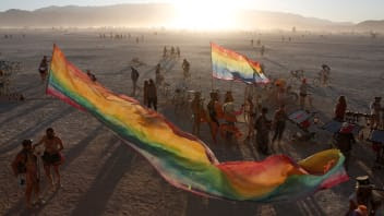 The sun sets on the playa as approximately 70,000 people from all over the world gathered for the annual Burning Man arts and music festival in the Black Rock Desert of Nevada, U.S. August 28, 2017.