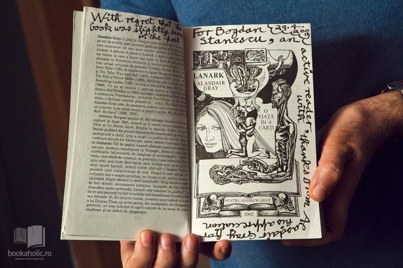 """Romanul """"Lanark"""" cu o dedicație în stilul Alasdair Gray"""