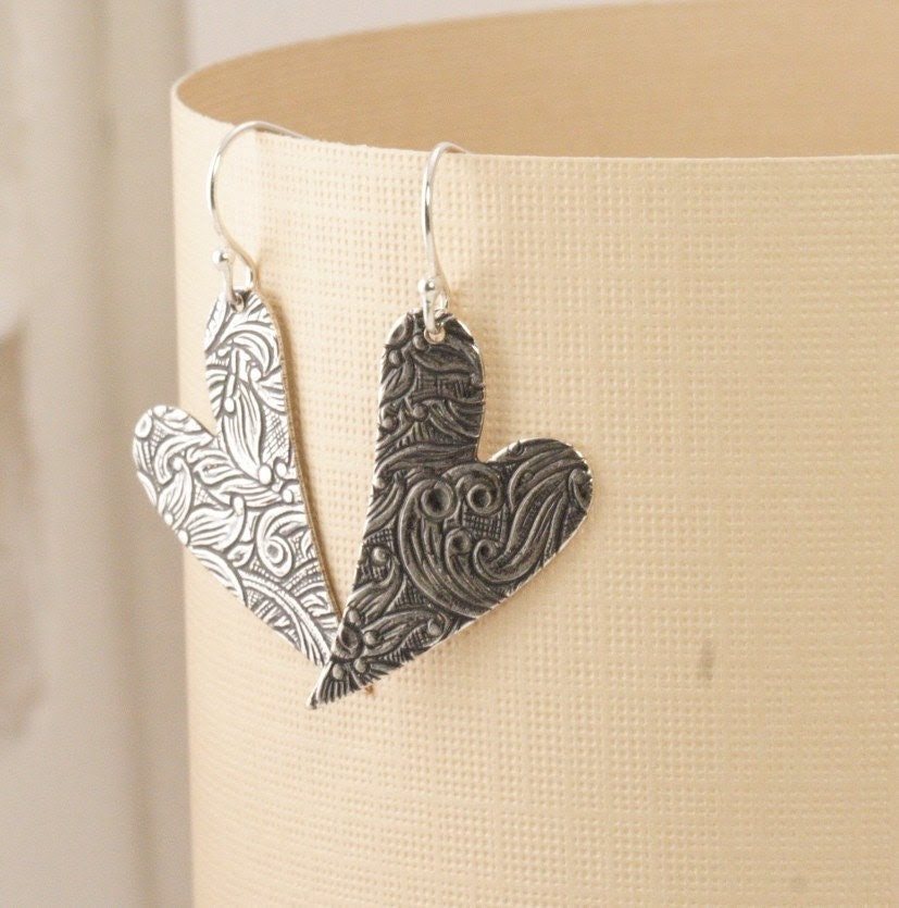 Shipping Included - Together Forever Floral Engraved Heart Earrings
