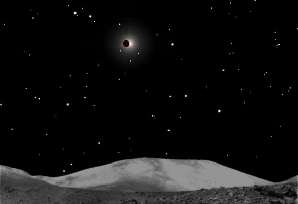 Earth eclipses the sun from Chang'e 3's location in the Sea of Rains on April 15, 2014. At the same time, we'll see a total lunar eclipse from the ground. Stellarium