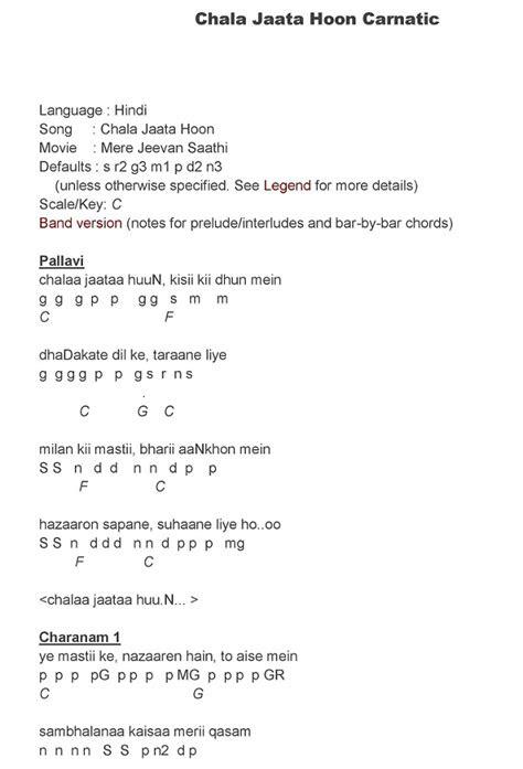 Hindi Song Notes And Keys: Chala Jaata Hoon