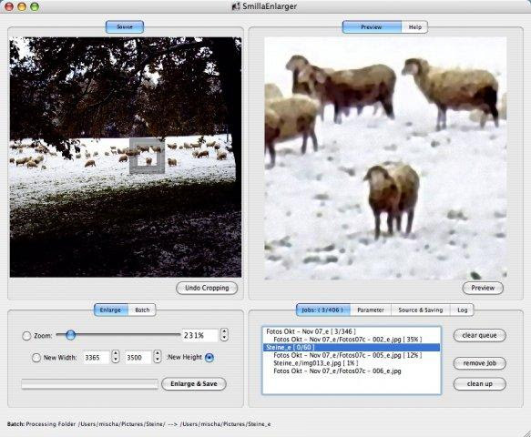 SmillaEnlarger and some sheep on MacOS X