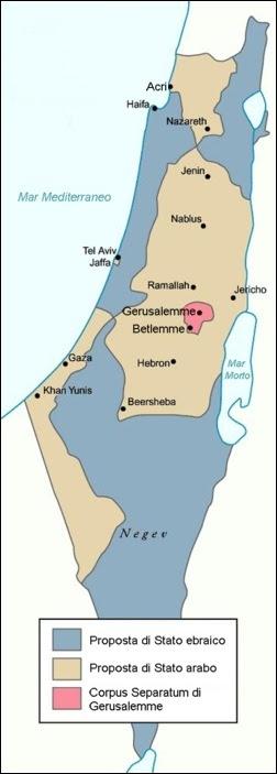 Piano di spartizione stabilito dalla risoluzione ONU n. 181. Il piano fu accettato dagli ebrei e rifiutato dagli arabi.