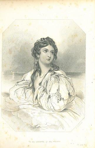 """Lámina que ilustra la """"Rima XI"""" (Yo soy ardiente, yo soy morena,…) (en: Rimas / de Gustado A. Bécquer. – Nueva York, 1890)"""