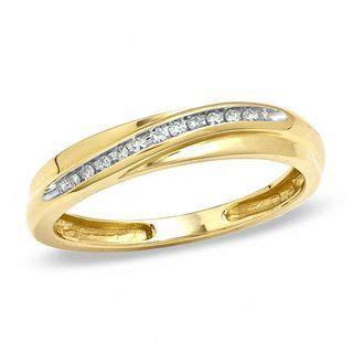 Men's 1/20 CT. T.W. Diamond Slant Wedding Band in 10K Gold