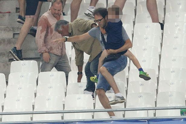 Fights break out in the stands between rival fans as England draw 1-1 against Russia in Marseille
