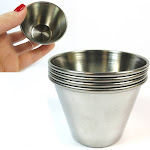 4 Polished Stainless Steel Cups Kitchen Portion Condiment Sauce Containers New
