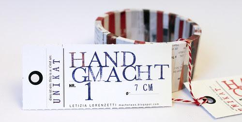 Handgmacht - Armreif-Etikette Nr. 1 TEST