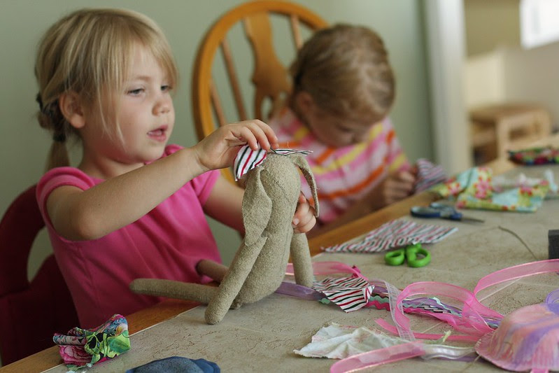 making clothes for their bunnies